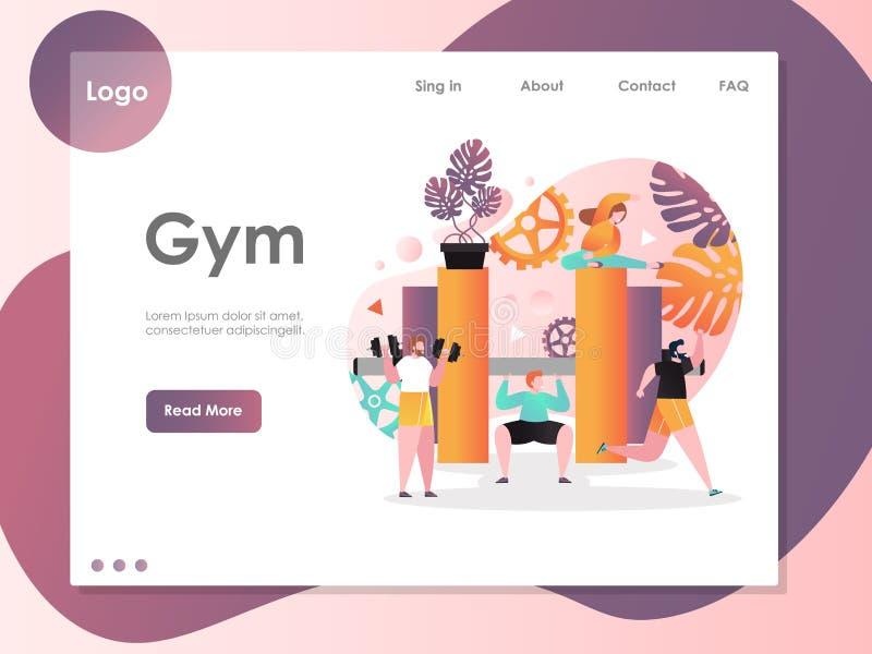 Het landingspaginaontwerpsjabloon van de gymnastiek vectorwebsite royalty-vrije illustratie