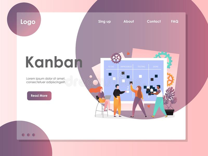 Het landingspaginaontwerpsjabloon van de Kanban vectorwebsite royalty-vrije illustratie