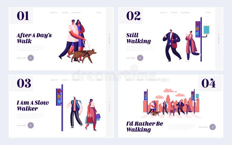 Het Landingspaginareeks, Mensen op Stadsstraat lopen met Verkeerslichten en Zebrapad die van de voetgangerswebsite zich door Weg, royalty-vrije illustratie