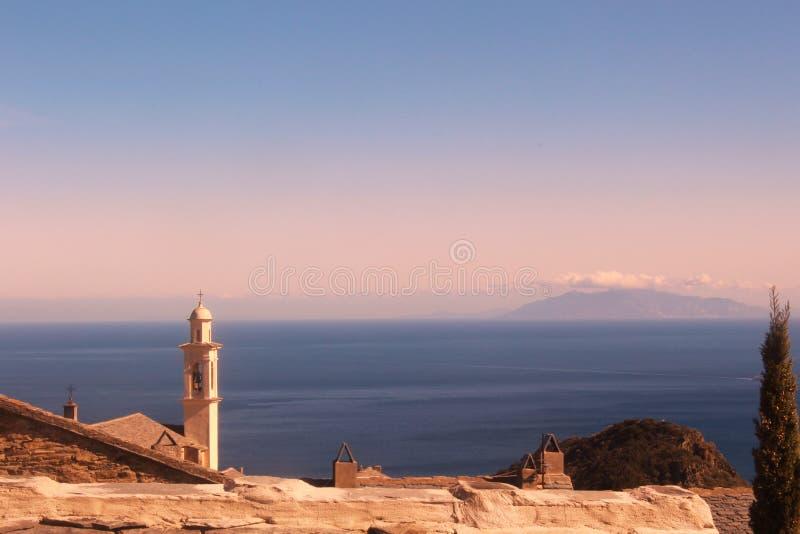Het landschap Corsica van de kerktoren royalty-vrije stock foto
