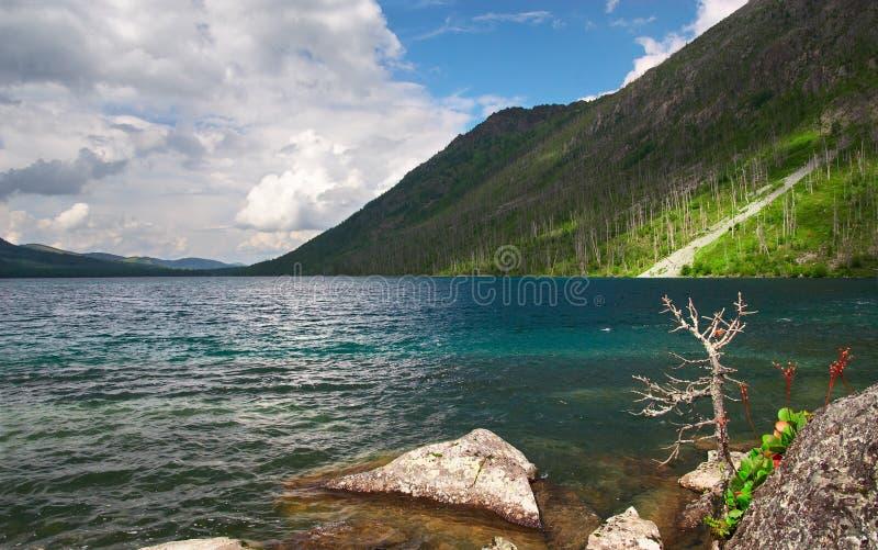 Het landschap en het meer van bergen. stock fotografie