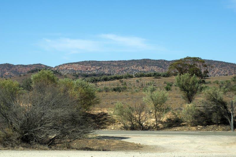 Het landschap langs Flinders ` strekt zich Manier, het noorden van uit Venter, Zuid-Australië royalty-vrije stock fotografie
