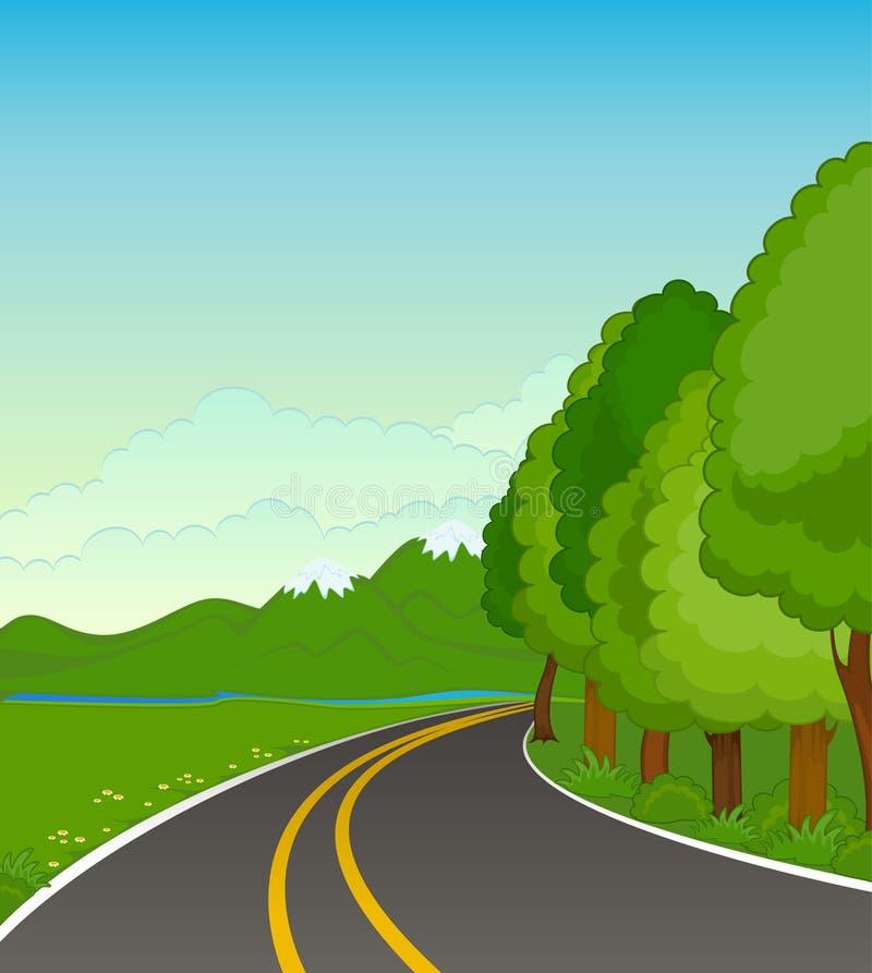 Het landschap met een asfaltweg stock illustratie