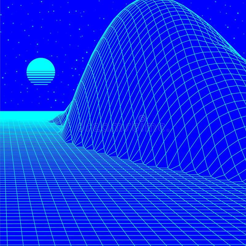 Het landschap met wireframenet van de jaren '80 stileerde retro computerspel of wetenschaps 3d structuur als achtergrond met zonb vector illustratie