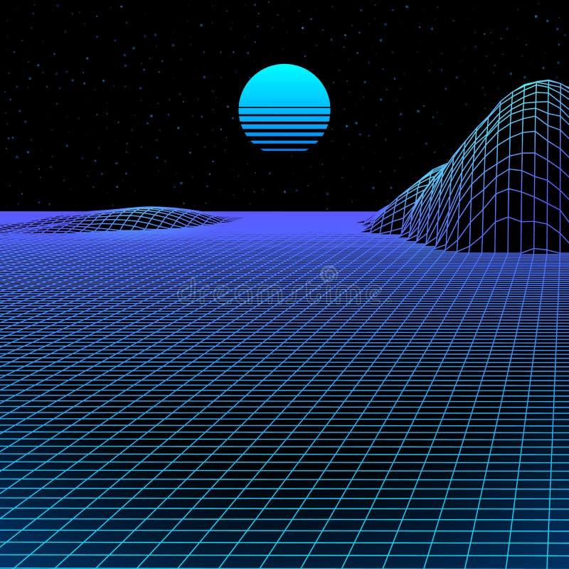 Het landschap met wireframenet van de jaren '80 stileerde retro computerspel of wetenschapsachtergrond met zon en bergen royalty-vrije illustratie
