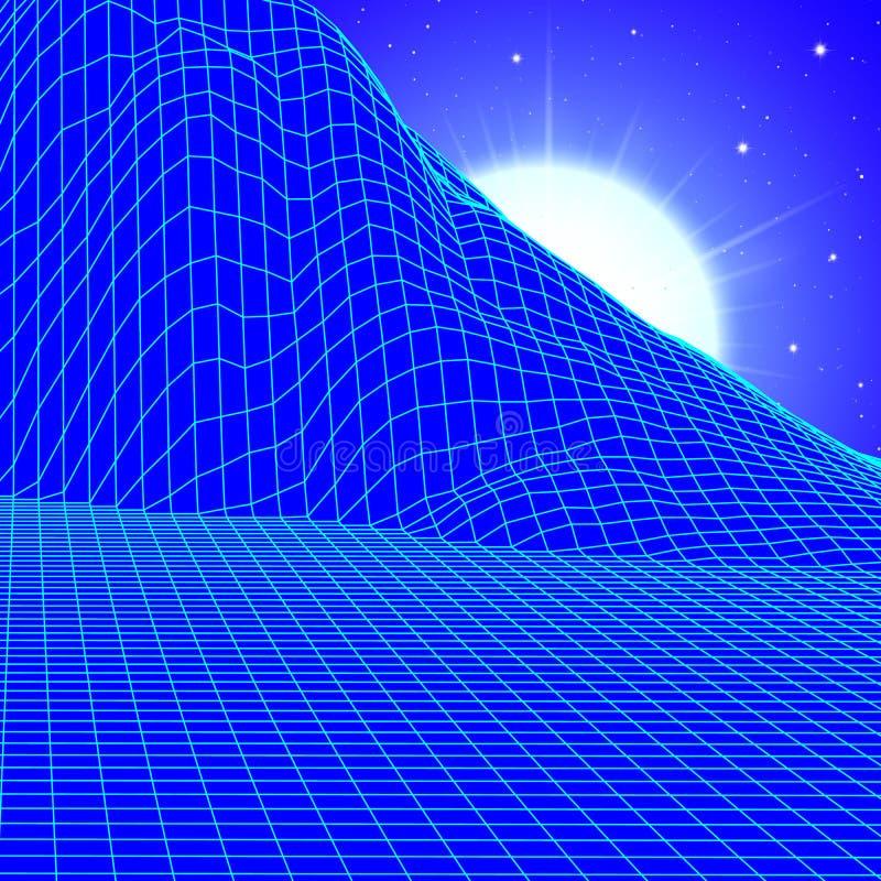 Het landschap met wireframenet van de jaren '80 stileerde retro computerspel of wetenschapsachtergrond met zon en bergen vector illustratie