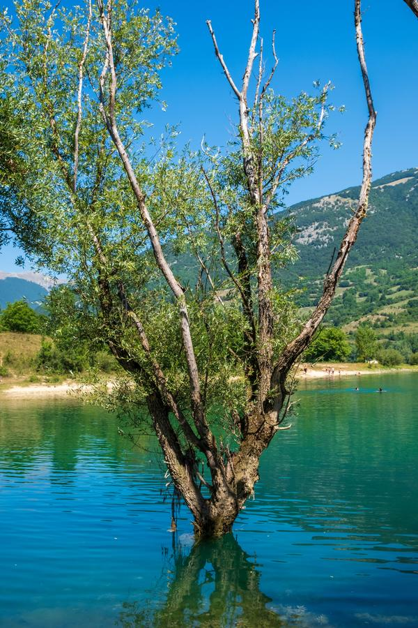 Het landschap van het Barrea-meer, Abruzzo, Italië stock fotografie