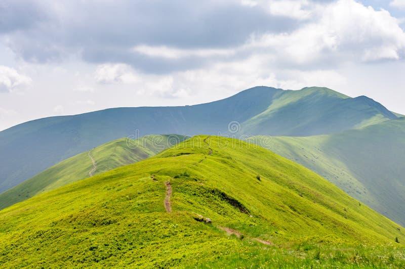 Het landschap van bergen Groene hellingen en een weg die langs de bovenkant van de berg loopt De Achtergronden van de aard stock foto's