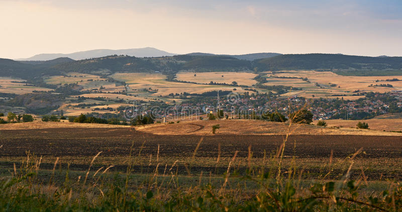 Het landschap van Bulgarije bij zonsondergang royalty-vrije stock foto