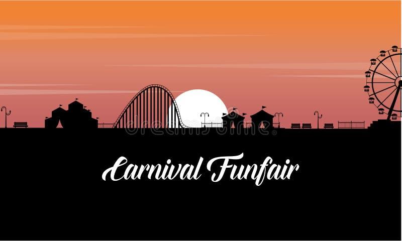 Het landschap van Carnaval funfair bij zonsondergangsilhouet stock illustratie
