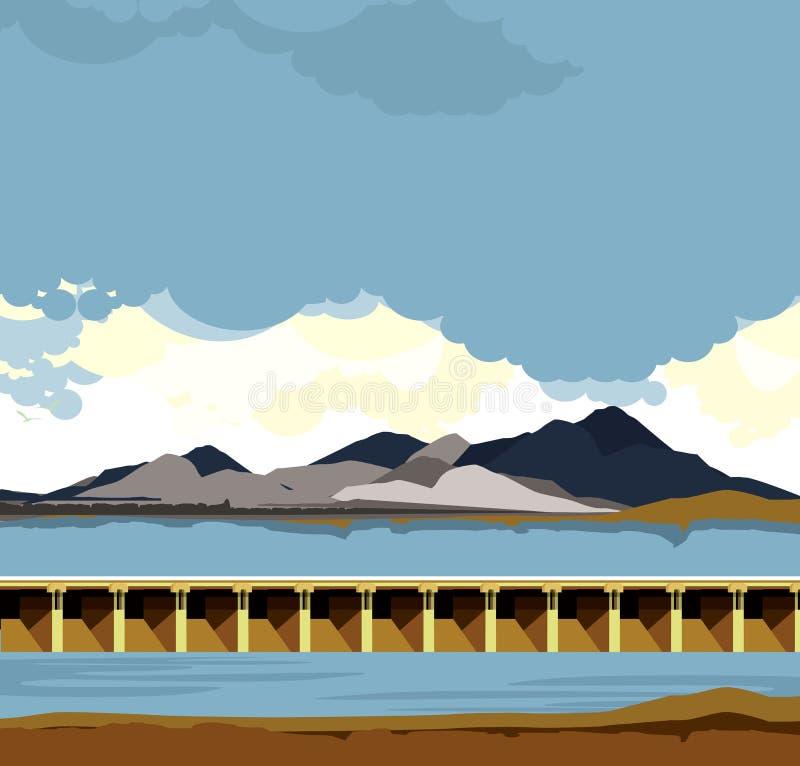 Het landschap van het damwater stock illustratie