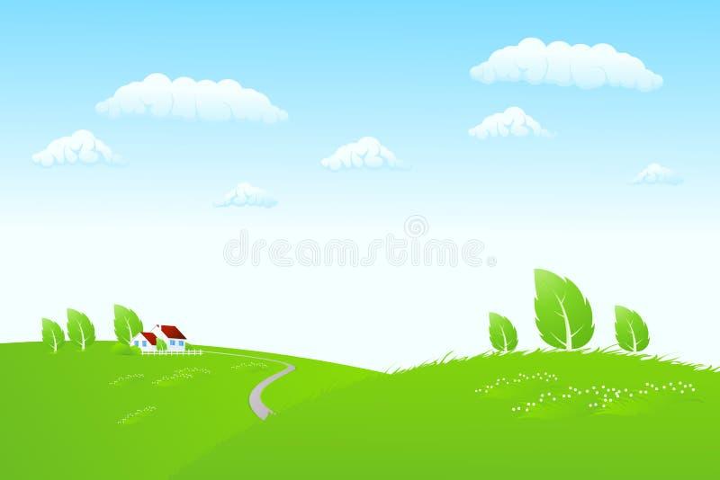 Het landschap van de aard met huis vector illustratie