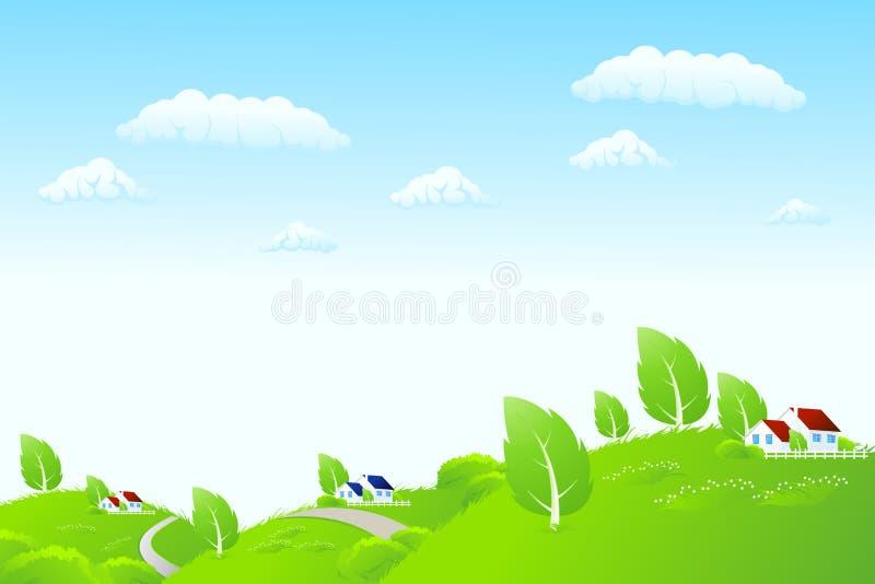 Het landschap van de aard met huizen vector illustratie