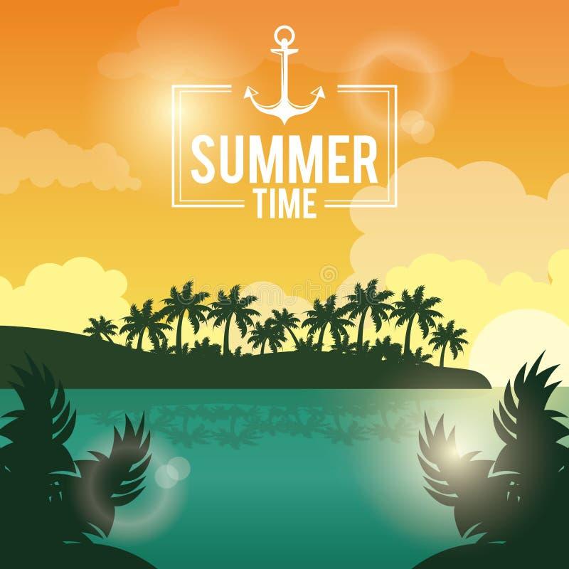 Het landschap van de affichezonsondergang van palmen op het strand met de tijd van de embleemzomer met anker stock illustratie