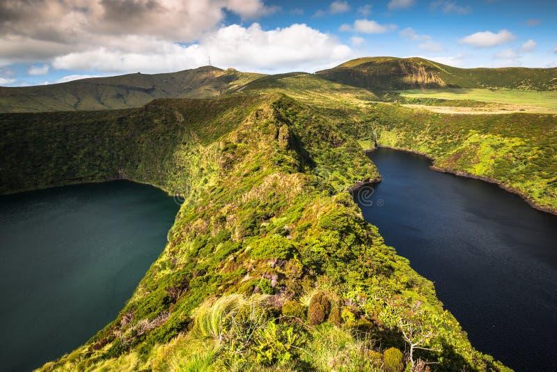 Het landschap van de Azoren in Flores-eiland Watervallen in Pozo DA Alagoin royalty-vrije stock foto
