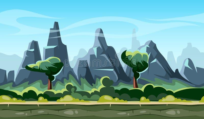 Het landschap van de beeldverhaalaard met bomen en bergen stock illustratie