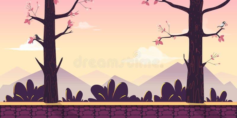 Het landschap van de beeldverhaalaard met bomen, struiken, bergen, hemel en wolken Naadloze vectorachtergrond voor uw project vector illustratie