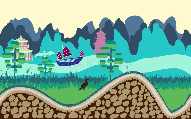 Het landschap van de beeldverhaalaard met rivier, bomen, weg en bergen g vector illustratie