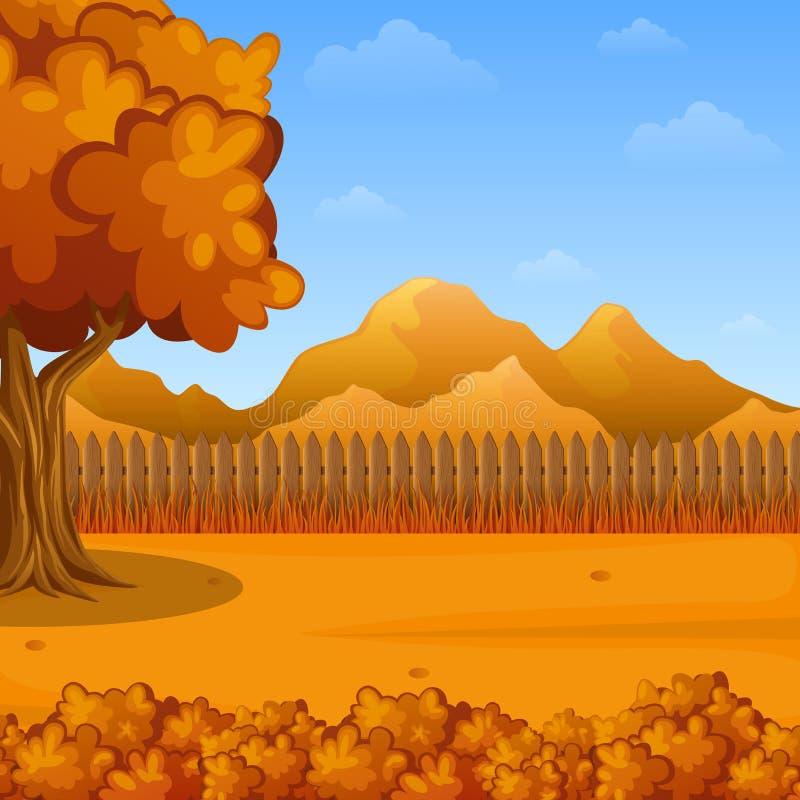 Het landschap van de beeldverhaalherfst met houten omheining en bergen royalty-vrije illustratie