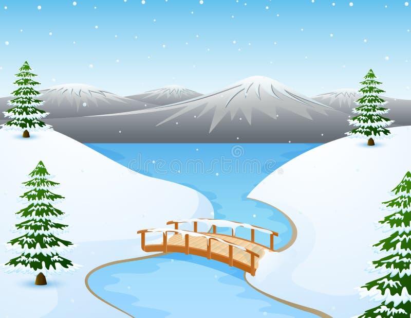 Het landschap van de beeldverhaalwinter met bergen en kleine houten brug over rivier royalty-vrije illustratie