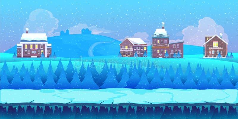 Het landschap van de beeldverhaalwinter met ijs, sneeuw en bewolkte hemel aardachtergrond voor spelen royalty-vrije illustratie