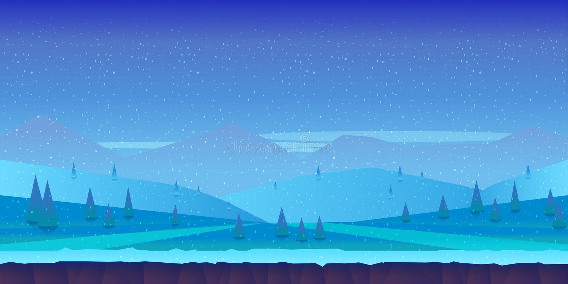 Het landschap van de beeldverhaalwinter met ijs, sneeuw en bewolkte hemel vectoraardachtergrond voor spelen royalty-vrije illustratie