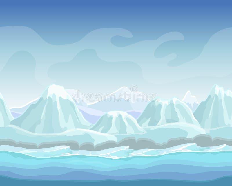 Het landschap van de beeldverhaalwinter met Naadloze vector de aardachtergrond van sneeuwbergen voor spelen polaire milieuillustr stock illustratie
