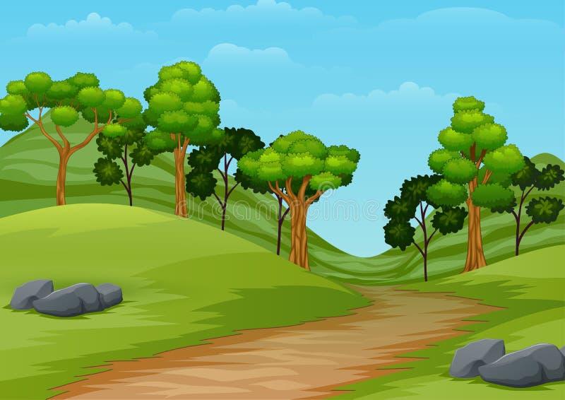 Het landschap van de beeldverhaalzomer met wegsleep aan bos stock illustratie
