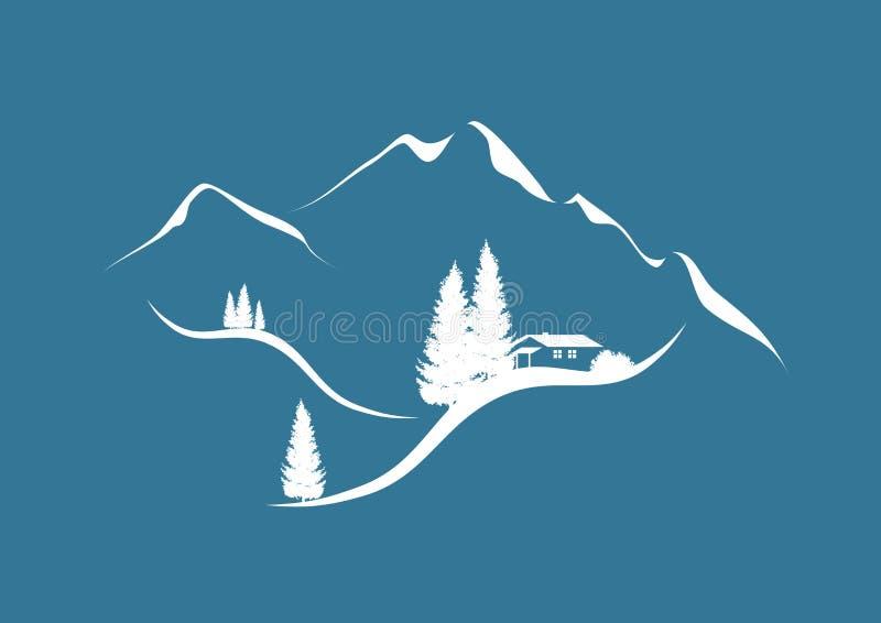 Het landschap van de berg in de winter vector illustratie