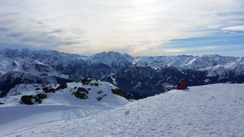Het landschap van de berg in de winter stock foto