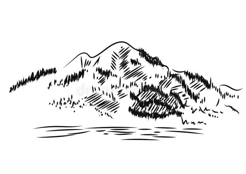 Het landschap van de berg Getrokken hand, vectorillustratie royalty-vrije illustratie