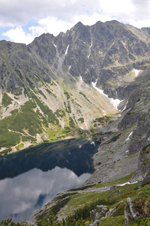Het landschap van de berg met een meer verticaal stock afbeeldingen