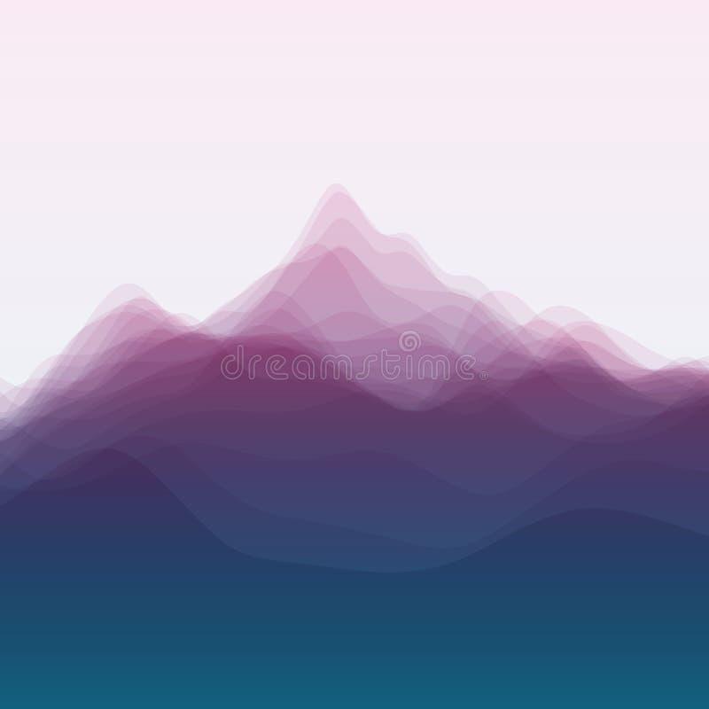 Het landschap van de berg Vectorsilhouetten van royalty-vrije illustratie