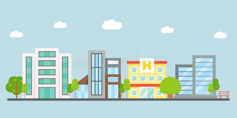 Het Landschap van de binnenstad, modern de bouw vector vlak ontwerp stock illustratie