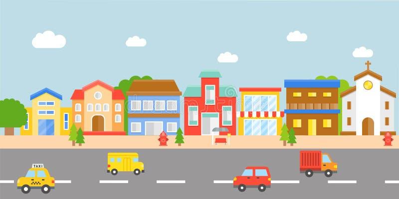 Het Landschap van de binnenstad, modern dorps vector vlak ontwerp vector illustratie