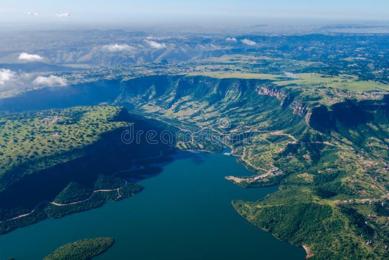 Het Landschap van de Dam van de Foto van de lucht royalty-vrije stock foto
