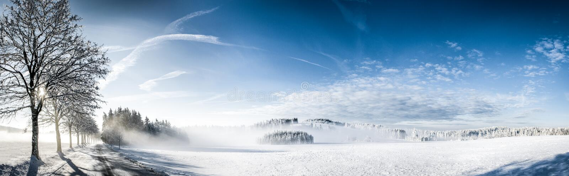 Het landschap van de de winterzonsopgang met nevel royalty-vrije stock afbeelding
