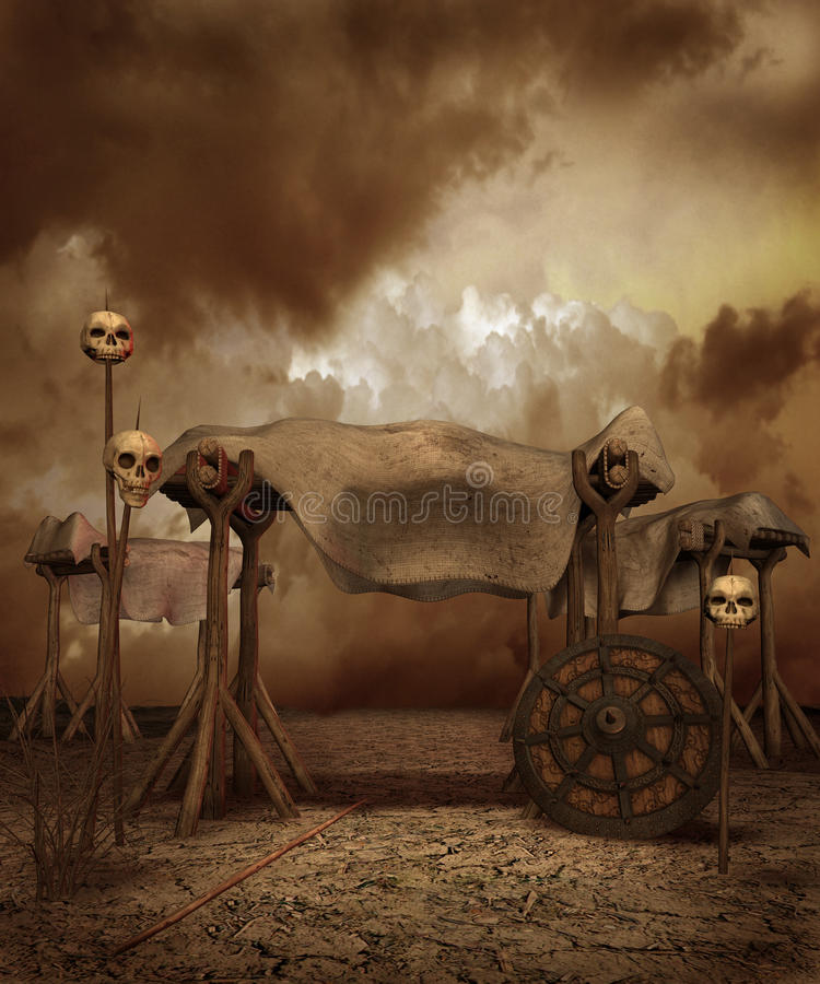 Het landschap van de fantasie met schedels royalty-vrije illustratie