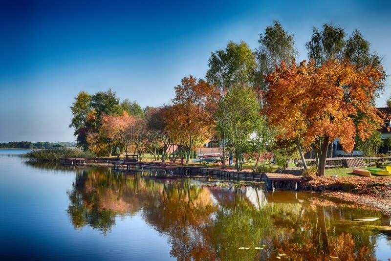 Het landschap van de herfst met meer stock afbeeldingen