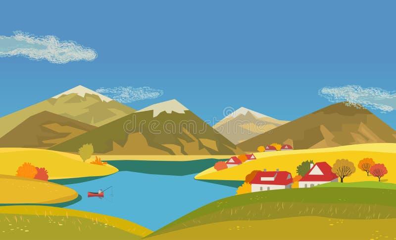 Het landschap van het de herfstlandschap vector illustratie