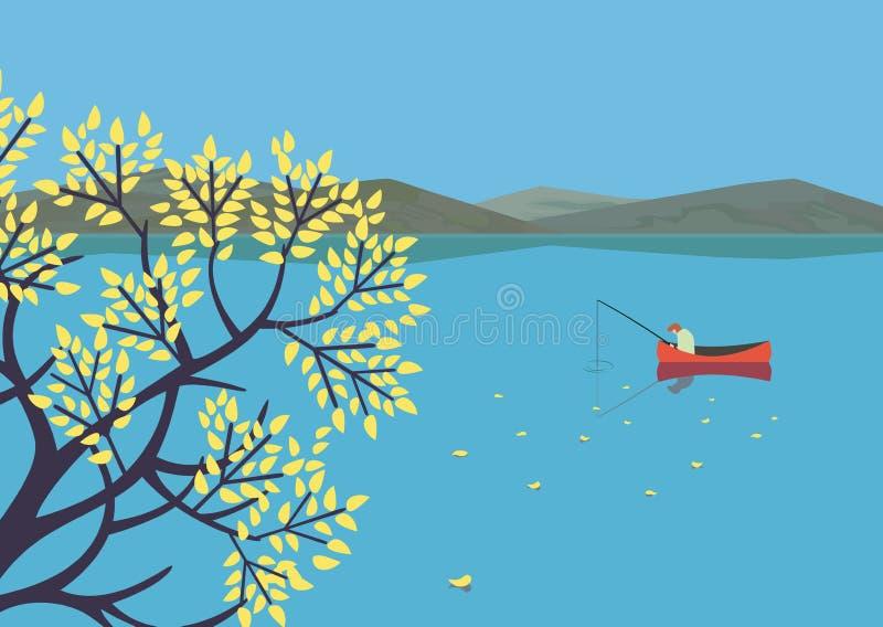 Het landschap van het de herfstmeer vector illustratie