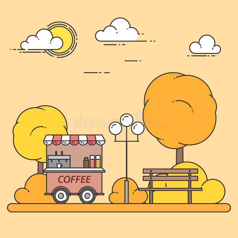 Het landschap van de de herfststad met bank, koffievrachtwagen in centraal park Vector illustratie Lijnart. vector illustratie