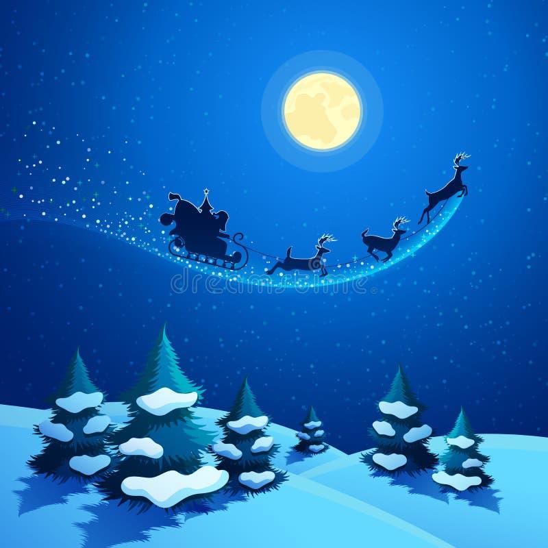 Het Landschap van de Kerstmisaard met Santa Claus Sleigh stock illustratie