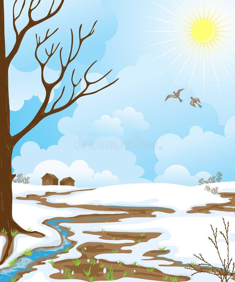 Het landschap van de lente. vector illustratie