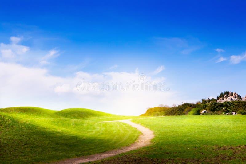 Het landschap van de lente met groene gras en wolken stock fotografie