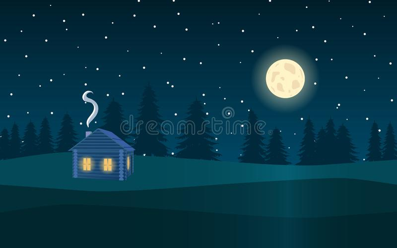 Het landschap van de nacht Bos, maan, sterren en het blokhuis stock illustratie