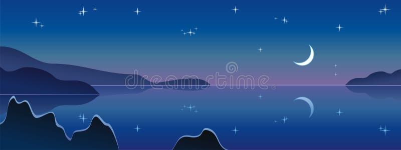 Het landschap van de nacht, middernachtmaan royalty-vrije illustratie
