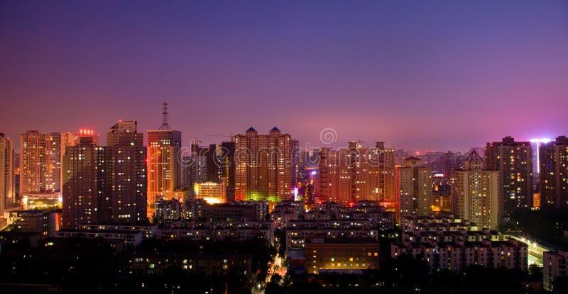 Het Landschap van de Nacht van de stad royalty-vrije stock afbeelding