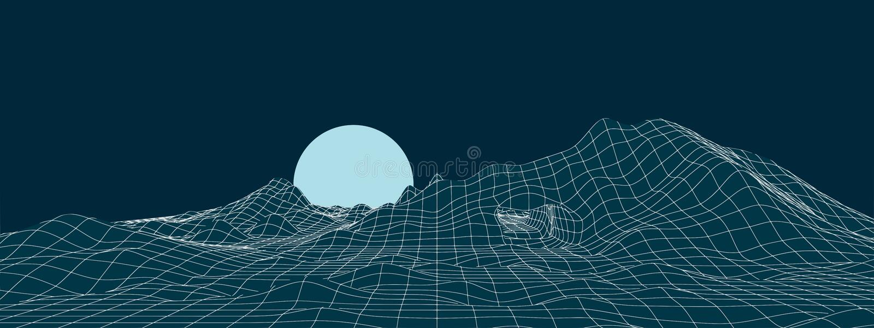 Het landschap van de neonberg met maanillustratie stock illustratie