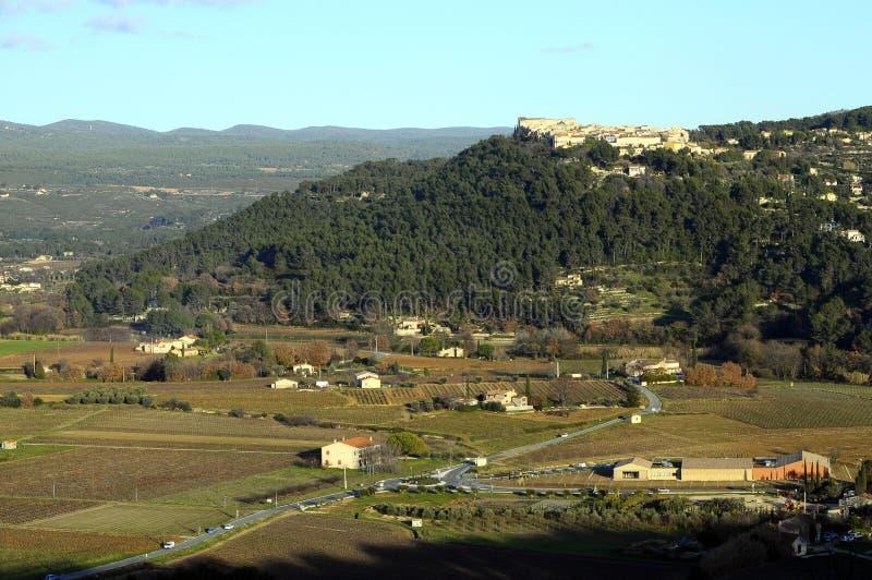 Het landschap van de Provence, Castellet, Frankrijk stock afbeelding